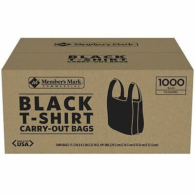 BLACK T-Shirt Carry Out Retail Plastic Bags 1000 ct. Recyclable Grocery Shopping