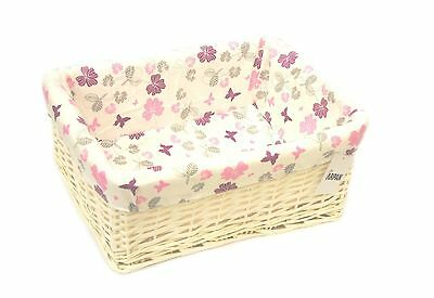 Large White Wicker Storage Basket With Cloth Lining Purple Butterfly-9364-LPE