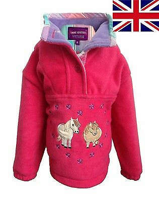 British UK Shire Classics Girls Pink Fleece Half Zipped Top With Pony Embroidery