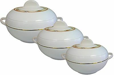 3Pc Insulated Food Serving Hotpot Dishes Round Casserole Food Warmer NEW