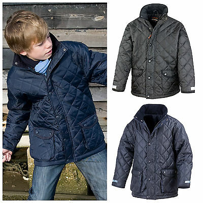 Childrens Boys Girls Padded Diamond Quilted Smart School Coat Jacket Navy Black