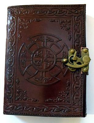 "5"" x7"" Mandala Pattern Leather Bound Book of Shadows, Journal!"