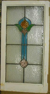 "LARGE OLD ENGLISH LEADED STAINED GLASS WINDOW Cute Abstract Drop 18"" x 34.25"""