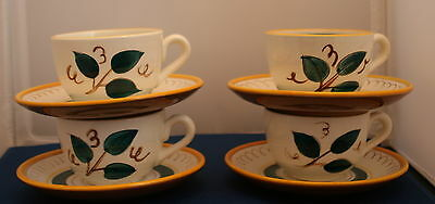Stangl Pottery Fruit Pattern Set of 4 Cups And Saucers Vintage 50's