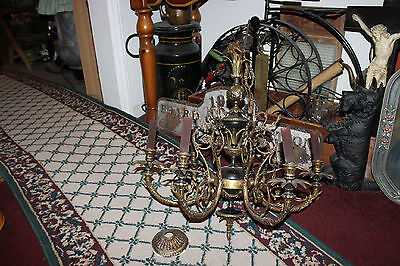 Antique Victorian Art Deco Chandelier-6 Light-Brass Metal Intricate Design-Large