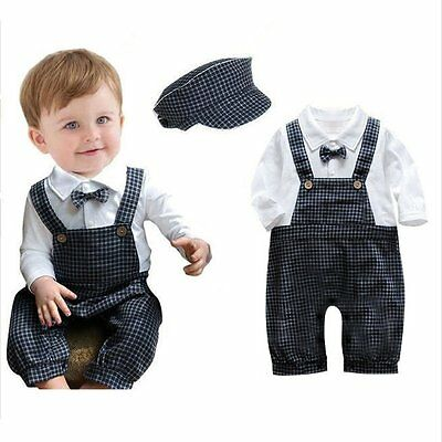 Toddler Kids Baby Boys Romper Jumpsuit Bodysuit Hat Outfits Clothes Vintage Sets