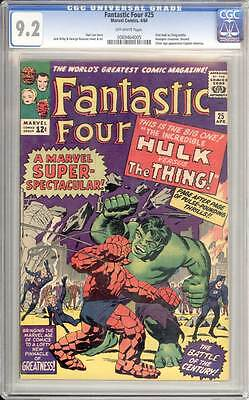Fantastic Four # 25  The Incredible Hulk vs the Thing !  CGC 9.2 scarce book !