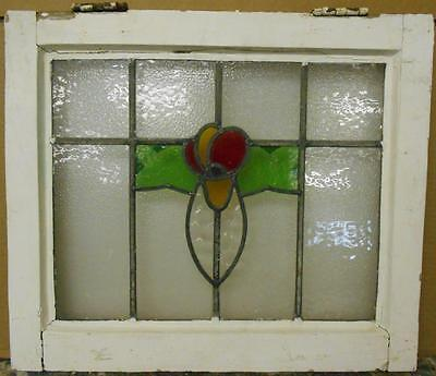 "OLD ENGLISH LEADED STAINED GLASS WINDOW Cute Scalloped Floral 19.25"" x 16.5"""