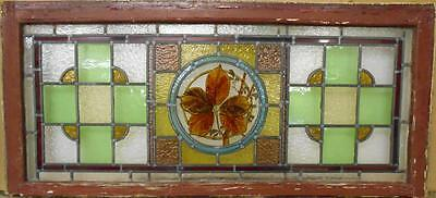 """VICTORIAN ENGLISH LEADED STAINED GLASS WINDOW Handpainted Leaves 40.5"""" x 18.25"""""""