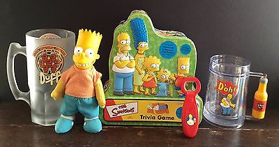 Old Used The Simpsons Tin Duff Beer Mug Opener Bart Doll Trivia Game Lot Of 5