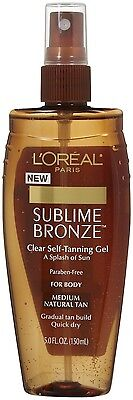 1 LOREAL SUBLIME BRONZE CLEAR SELF TANNING SPRAY GEL FOR BODY medium natural
