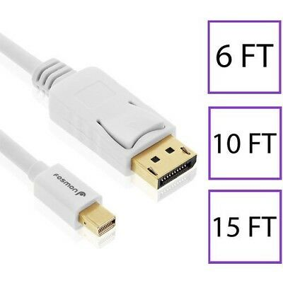 6 10 15 FT Gold 30AWG Mini DisplayPort to Display Port DP Cable Cord Adapter