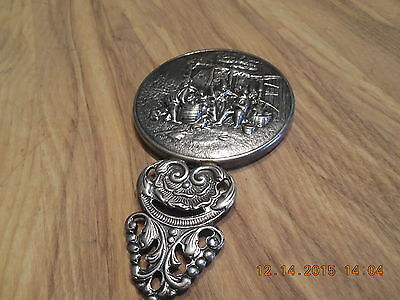 Vintage Silver Plate Mirror Made in Denmark Small Hand Held Mirror