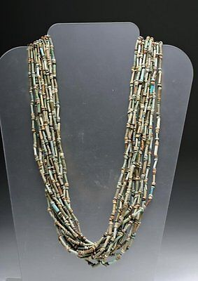 Large Ancient Egyptian 15-Strand Faience Necklace Third Intermediate Period