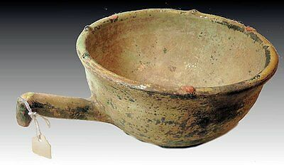 Ancient Persian Islamic glazed ceramic bowl, with handle c.13th c. Kashan