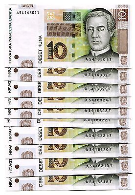 CROATIA 10 KUNA 2012 P-38b UNC LOT 10 PCS