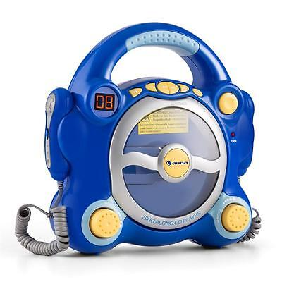 Kids Battery Karaoke Machine Cd Player Microphones Blue * Free Uk P&p