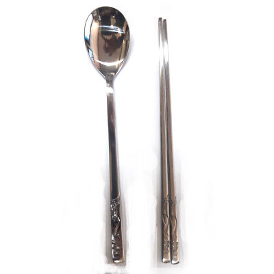 Korean Stainless Steel Spoon and Chopsticks Set Crane Patten tableware