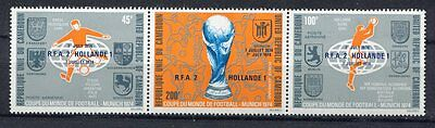 s5081) CAMEROUN 1974 MNH** World Cup Football - Coppa del Mondo Calcio 3v. OVPTD