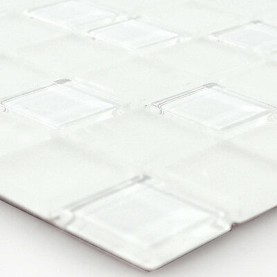 Self Adhesive Glass Mosaic Tiles White