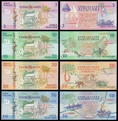 Cook Islands 3 - 50 Dollars 4 Pieces (PCS) Set, 1992, P-7-10, UNC
