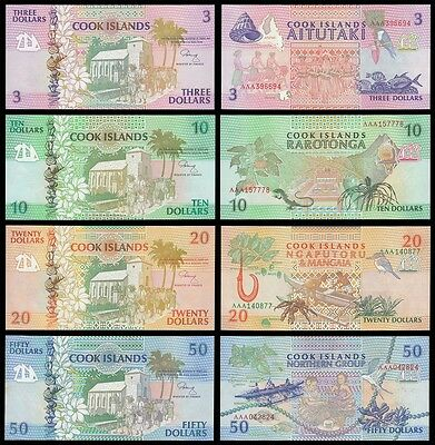 Cook Islands 3,10,20,50 Dollars 4 Pieces Banknotes Full Set, 1992, P-7T10, A-UNC