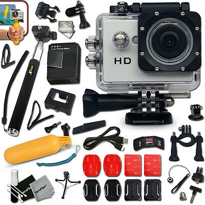 ACTION Camera / Camcorder  HD 720p Waterproof  + Monopod + ACCESSORIES Kit