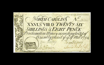 Christian America! Bible on U.S. paper money: 1754 North Carolina colonial NC-80