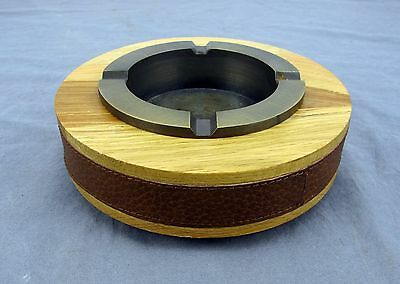 Vintage Weighted Heavy Wood Grain + Leather Cigarette Ashtray w/ Metal Insert