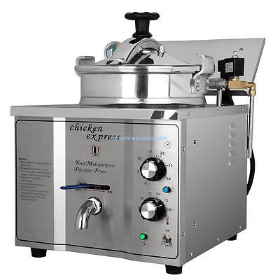 Stainless Steel 3000W 16L Electric Pressure Valve Fryer Cooking Chicken w/ Timer