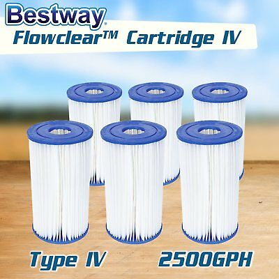 NEW Bestway 6 x Cartridge Filter for Ground Swimming Pool 2500gal/h Pump 58095