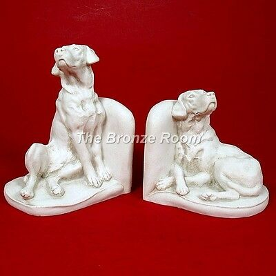 Pair Of Marble Labrador Bookends - Made In England