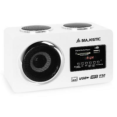 Majestic Mini Hi Fi Portatile Usb Sd Mp3 Aux Radio Fm Am Casse Batterie Bianco