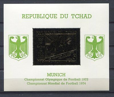 s4910) TCHAD 1970 MNH** WC Football - CM Calcio S/S GOLD IMPERF