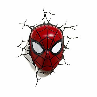 Marvel Spiderman 3D Led Wall Light Lamp Mask + Stickers New Official