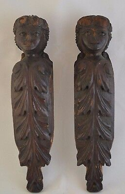 Awesome Salvaged Pair of Carved Mouldings Moldings