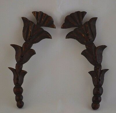 Pair of Antique Ornamental Curved Mouldings Moldings for Furniture Restoration