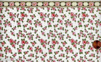 Dollhouse Wallpaper / 3 Sheets of Cottage Roses Pink/Rose 160D2
