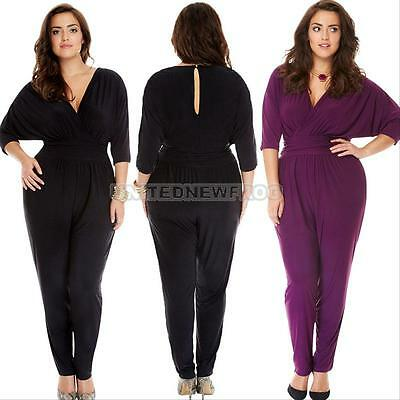 Plus Size Women Clubwear V Neck Playsuit Bodycon Party Jumpsuit Romper Trousers