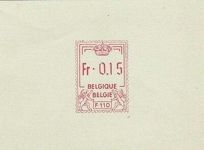 Stamp Belgium meter machine TRIAL postmarker with 0.15 franc value on card