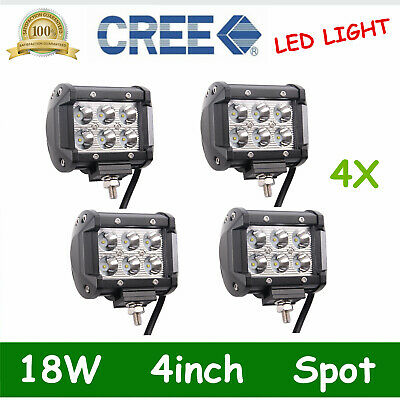 4pcs 4inch 18W LED Work Light Bar 4WD Spot Offroad Driving Fog CREE Lamp ATV OFF