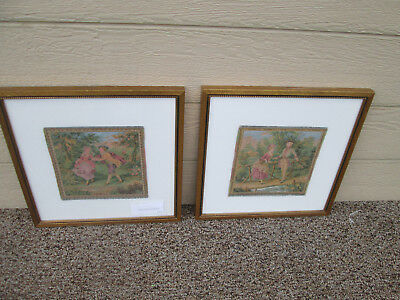 56423 Pair French Tapestries in Fancy Picture Frame