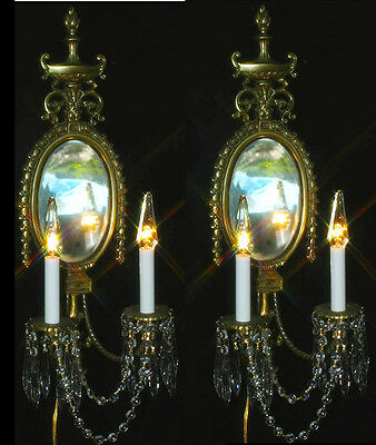 2 Vintage gilt Bronze Brass French Beveled Mirrored Crystal Sconce candle lamps