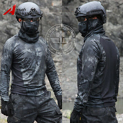 Tactical Camouflage Long Sleeve T-Shirt Quick-Dry Outdoor Airsoft Hunting Typhon