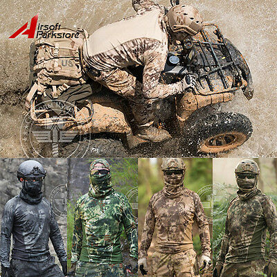 Tactical Mens Camouflage Long Sleeve T-Shirt Quick-Dry Outdoor Hunting Paintball