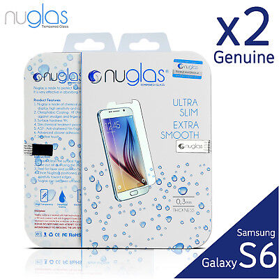 2x GENUINE NUGLAS Samsung Galaxy S6 Premium Tempered Glass Screen Protector