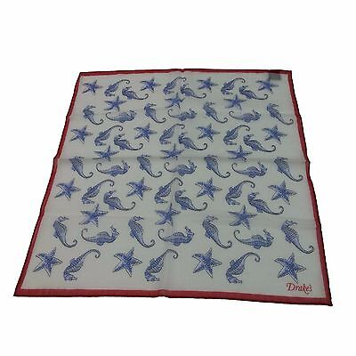 DRAKE'S foulard man cm 44x44 red border 72% cotone 28% silk MADE IN ITALY