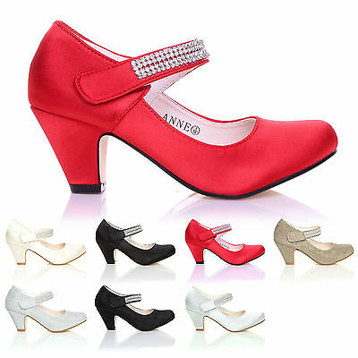 Girls Kids Childrens Low Heel Party Wedding Diamante Style Sandals Shoes