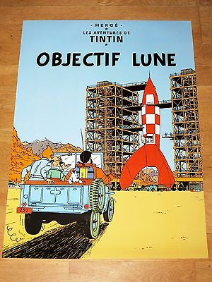 Tintin Poster Gross - Objectif Lune / on the way to moon - 27 5/8x19 11/16in New