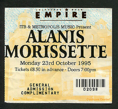 1995 Alanis Morissette concert ticket stub London Jagged Little Pill